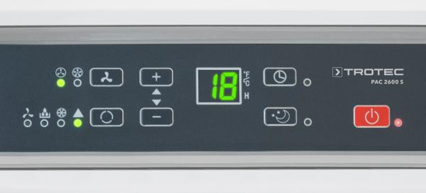 mobilní klimatizace PAC 2600 S s těsněním oken v ceně, detail na LED ovládací displej