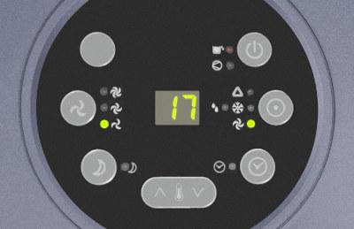 detail displeje mobilní klimatizace Trotec PAC 3500 X s těsněním AirLock v ceně