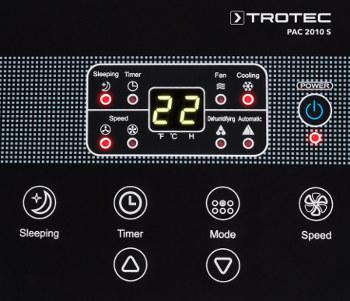 detail na ovládací panel mobilní klimatizace PAC 2010 S