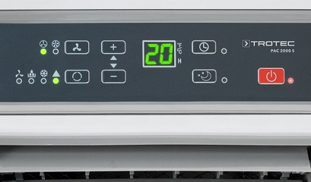 Sada mobilní klimatizace PAC 2000 S a těsnění AirLock 100, detail na ovládací panel