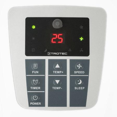 detail na ovládací panel mobilní klimatizace Trotec PAC 2000 X s těsněním do oken pro mobilní klimatizace