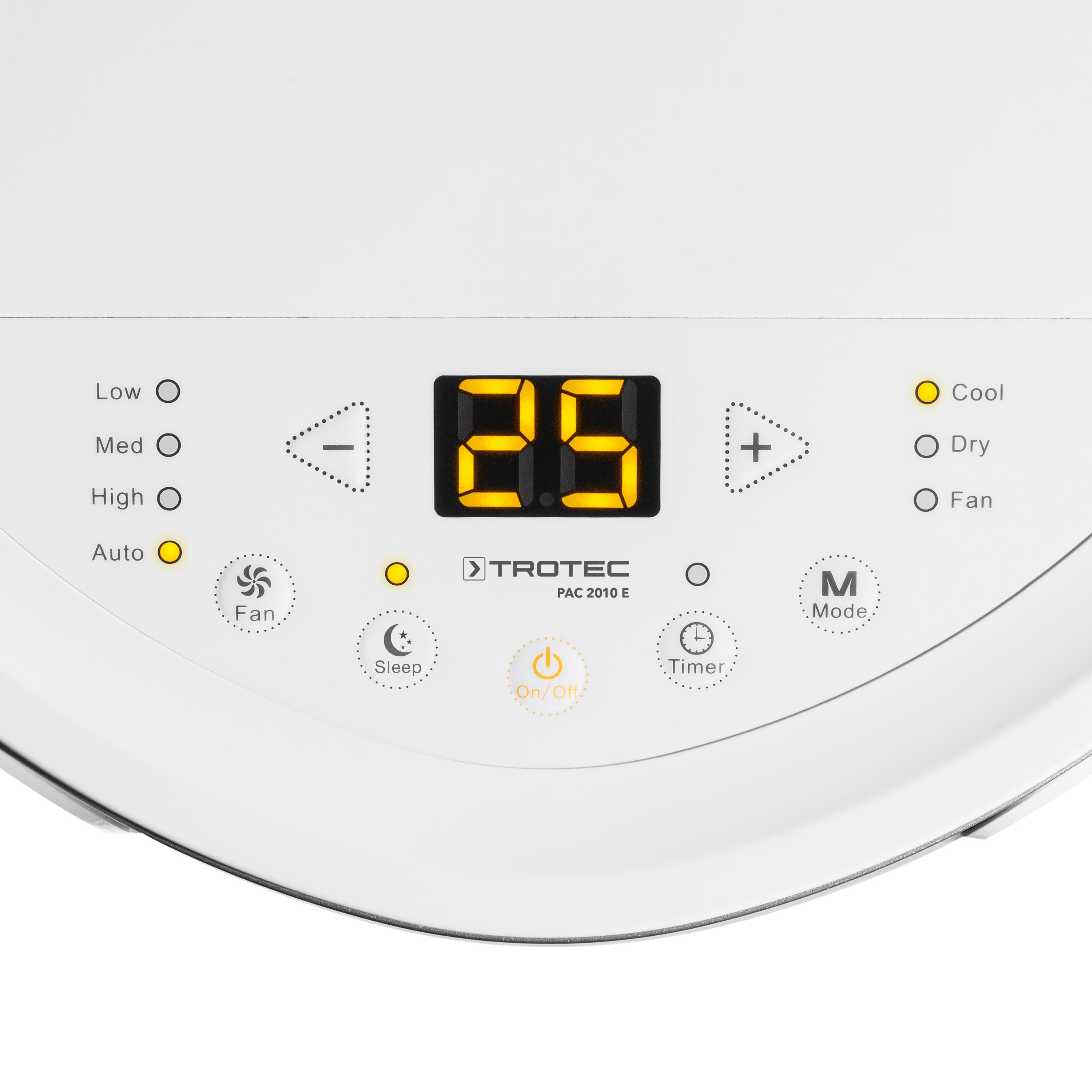 Detail ovládacího panelu mobilní klimatizace PA 2010 E