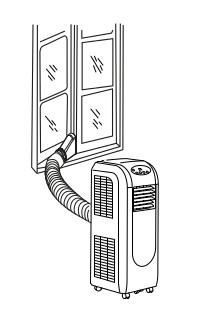 mobilní klimatizace Trotec PAC 3550 PRO s vývodem teplého vzduchu do okna, ilustrace použití
