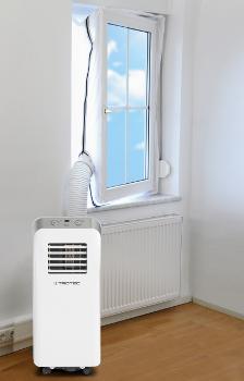 Těsnění oken Trotec AirLock pro mobilní klimatizace, ukázka nasazení