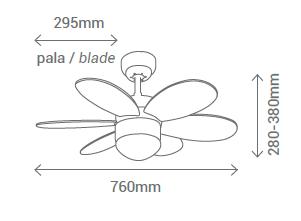 Schéma domácí stropní ventilátor Sulion 075008 Rainbow LED
