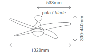Schéma stropního ventilátoru Sulion 075231 Pelicano