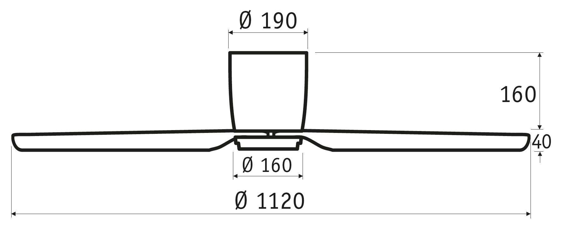 Schéma stropní ventilátor bez světla CasaFan 311284 Eco Plano II čedičově šedý