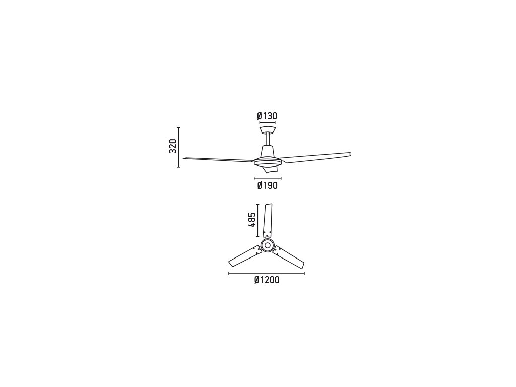 Schéma stropní ventilátor faro 33005 eco indus
