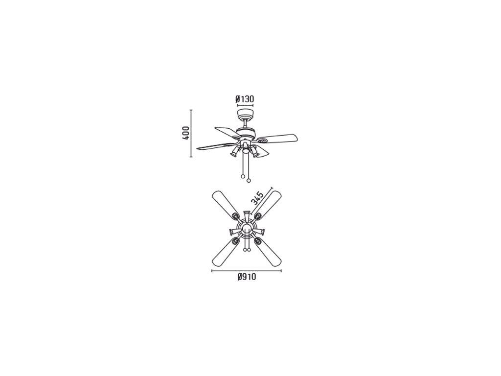 Schéma stropní ventilátor faro 33301 galapago
