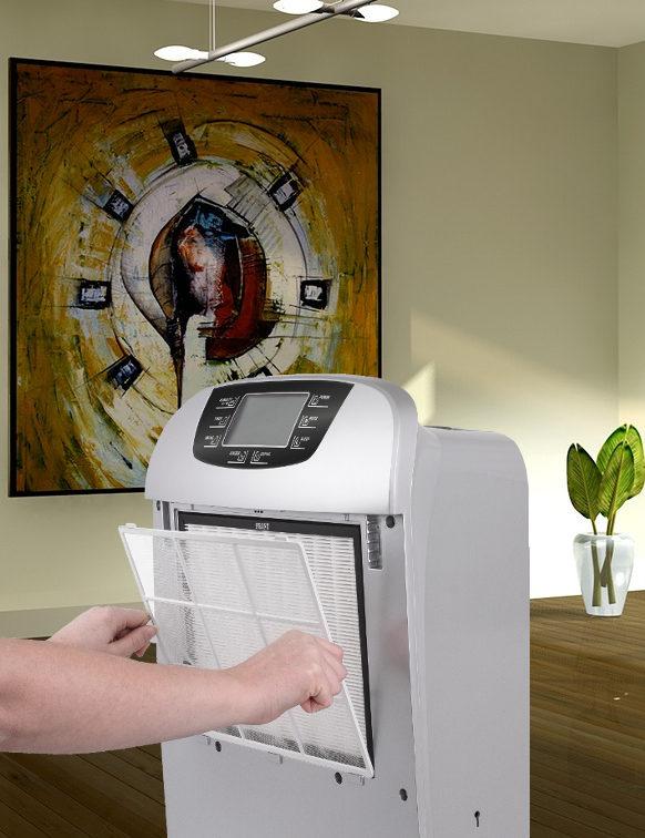Odvlhčovač vzduchu s HEPA filtrem v interiéru s obrazem