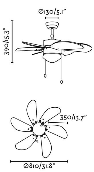 FARO 33185 stropní ventilátor schéma