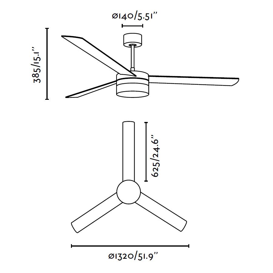 Schéma stropního ventilátoru FARO 33459 s osvětlením LED