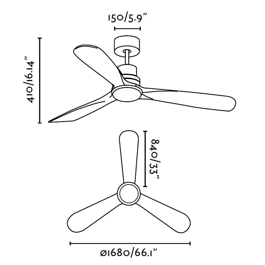 Schéma stropního ventilátoru s LED osvětlením FARO 33463 LANTAU-G