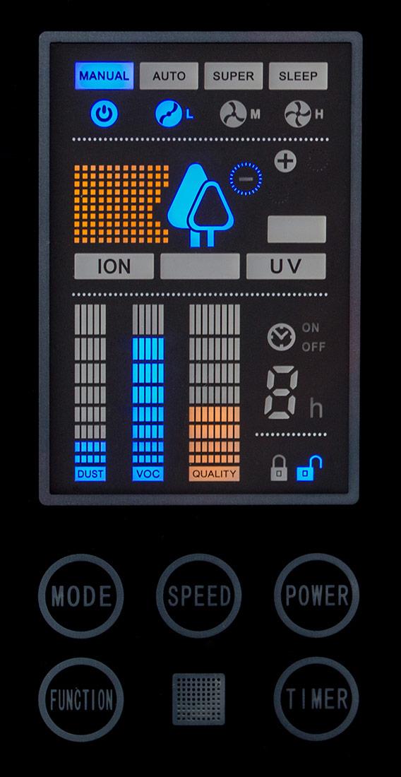 Čistička vzduchu Comedes LR 700 - ovládací panel