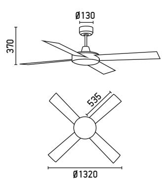 FARO 33292 schéma - stropní ventilátor bez světla