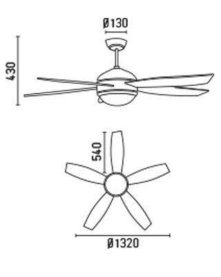 FARO 33313 schéma - stropní ventilátor se světlem