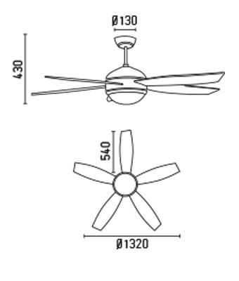 FARO 33314 schéma - stropní ventilátor se světlem