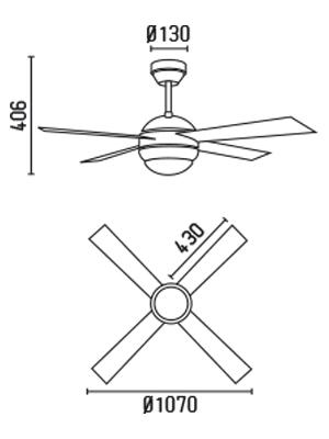 FARO 33347 schéma - stropní ventilátor se světlem