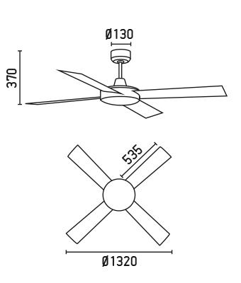 FARO 33351 schéma - stropní ventilátor bez světla