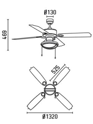 FARO 33356 schéma - stropní ventilátor se světlem