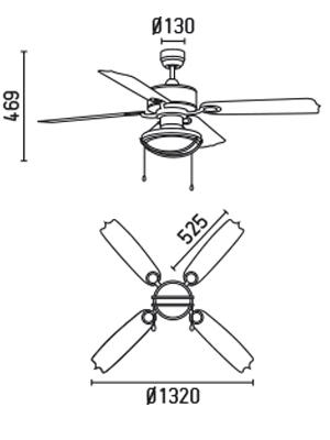 FARO 33357 schéma - stropní ventilátor se světlem